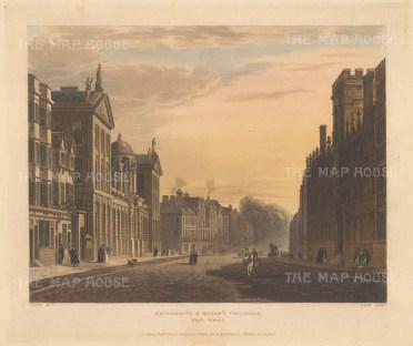 """Ackermann: University & Queen's Colleges. 1814. An original colour antique aquatint. 12"""" x 11"""".[OXONp400]"""