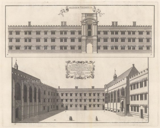 Two architectural elevations of the facade and quadrangle with a dedication to George Doddington. The 4th oldest college founded in 1314. An architectural draughtsman, in many instances William's elevations are the only visual records of the colleges at this time.
