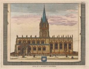 "van der Aa: St. Mary's Church. 1727. A hand coloured original antique copper engraving. 7"" x 5"". [OXONp600]"