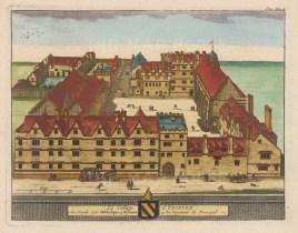 "van der Aa: Exeter College. 1727. A hand coloured original antique copper engraving. 7"" x 5"". [OXONp637]"