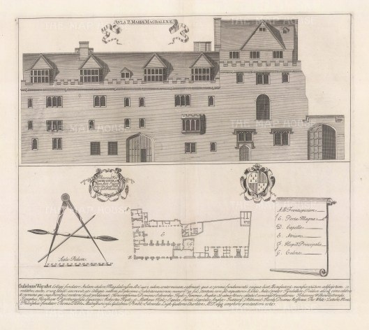 Plan and elevation with dedication to the college's founder William Waynefelt. Waynefelt was Lord Chancellor of England 1456-60 and Bishop of Winchester until his death in1486. An architectural draughtsman, in many instances William's elevations are the only visual records of the colleges at this time.