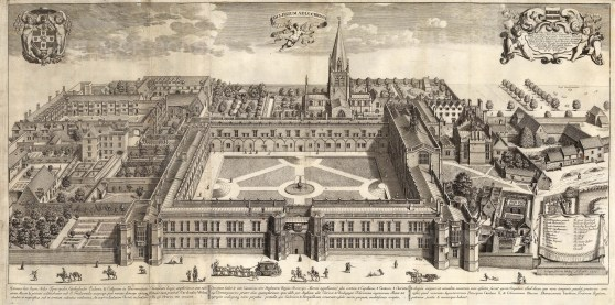 Aerial view with key of the orginally named Cardinal College founded by Thomas Woolsey. Subsequently acquired and renamed by Henry VIII.