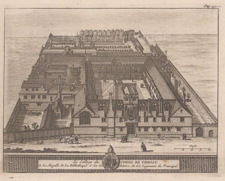 "van der Aa: Corpus Christi College. 1727. An original antique copper engraving. 7"" x 5"". [OXONp674]"