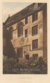 "Ackermann: St. Mary's Hall. 1814. An original colour antique aquatint. 5"" x 9"".[OXONp722]"