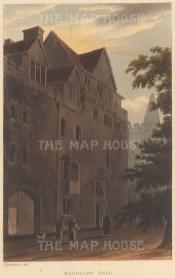 "Ackermann: Magdalen Hall. 1814. An original colour antique aquatint. 5"" x 9"".[OXONp723]"