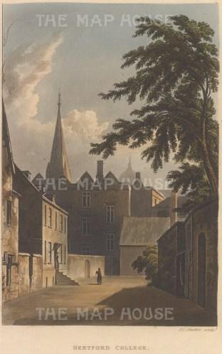 "Ackermann: Hertford College. 1814. An original colour antique aquatint. 5"" x 9"".[OXONp727]"