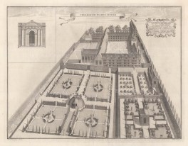 Bird's eye view with inset of facade detail and dedication to its founder Dorothy Wadham, who at the behest of her late husband Nicholas established the college in 1610.An architectural draughtsman, in many instances William's elevations are the only visual records of the colleges at this time.