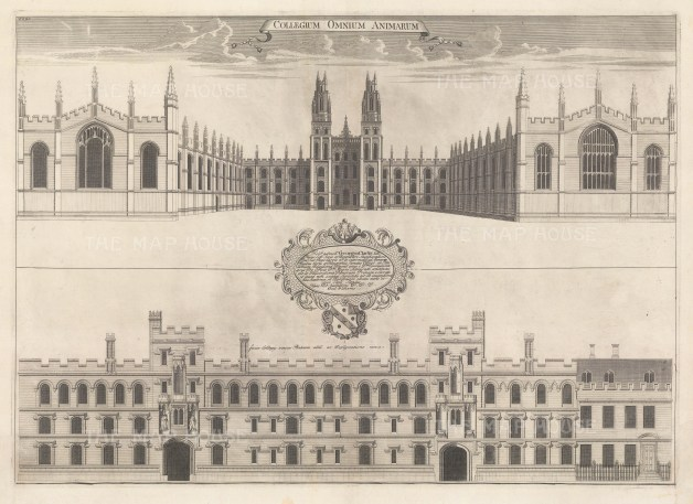 Two front elevations showing new design for the exterior. An architectural draughtsman, in many instances William's elevations are the only visual records of the colleges at this time.
