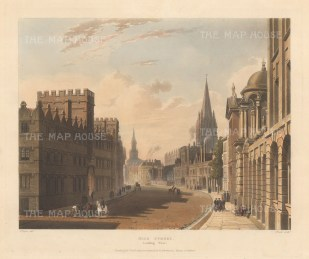 High Street. View looking West towards Carfax with University College on the left and St Mary the Virgin and All Saints Church in the distance