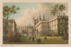 "Nelson: New College. c1889. An original antique chromolithograph. 5"" x 4"". [OXONp792]"