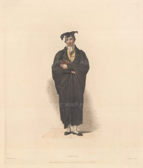 Oxford Scholar in his cap and gown.