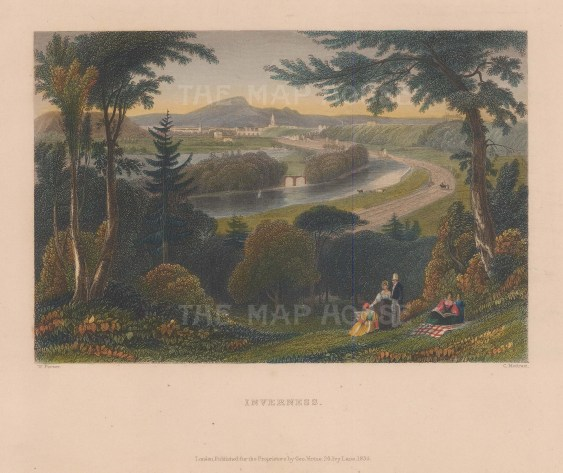 "Bartlett: Inverness. 1835. A hand coloured original antique steel engraving. 8"" x 6"". [SCOTp1702]"