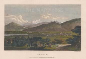 "Kelly: Geneva, Switzerland. 1835. A hand coloured original antique steel engraving. 8"" x 6"". [SWIp719]"