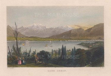 "Bartlett: Lake Leman, Switzerland. 1836. A hand coloured original antique steel engraving. 8"" x 6"". [SWIp744]"