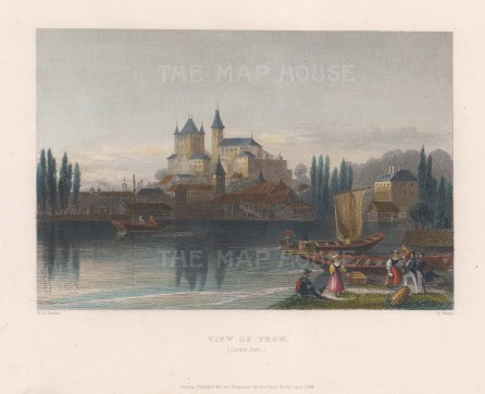"Bartlett: Thun, Switzerland. 1836. A hand coloured original antique steel engraving. 8"" x 6"". [SWIp763]"
