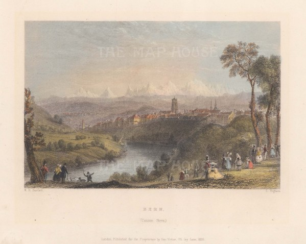 "Bartlett: Bern, Switzerland. 1835. A hand coloured original antique steel engraving. 8"" x 6"". [SWIp802]"