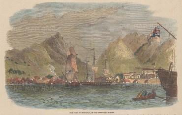 "Illustrated London News: Honolulu, Hawaii. 1849. A hand coloured original antique wood engraving. 9"" x 6"". [USAp5046]"