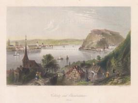 """Beattie: Coblentz & Ebrenbreitstein. 1844. A hand coloured original antique steel engraving. 9"""" x 7"""". [GERp1216]"""