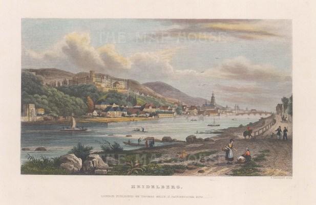 "Kelly: Heidelberg. 1836. A hand coloured original antique steel engraving. 7"" x 4"". [GERp1225]"