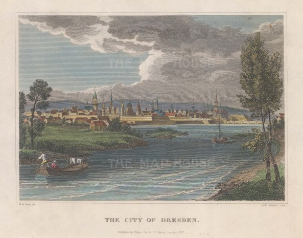 "Craig: Dresden. 1827. A hand coloured original antique steel engraving. 8"" x 6"". [GERp1230]"