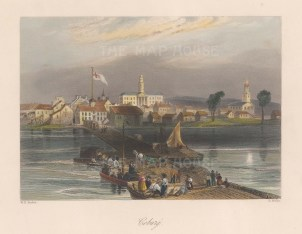 "Bartlett: Coburg. 1836. A hand coloured original antique steel engraving. 8"" x 6"". [GERp1258]"