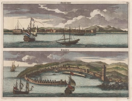 "Le Bruyn: Rhodes & Kos (Stanchio). 1702. A hand coloured original antique copper engraving. 15"" x 12"". [GRCp525]"