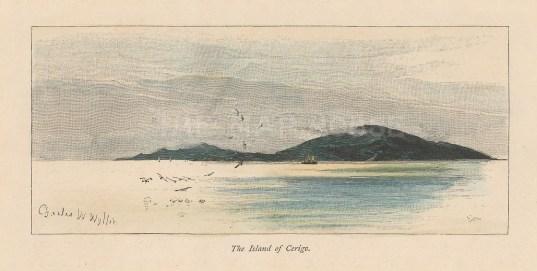 "Picturesque Mediterranean: Cerigo. c1880. A hand coloured original antique wood engraving. 7"" x 4"". [GRCp821]"