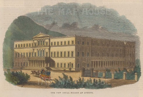 """Illustrated London News: Royal Palace, Athens. 1843. A hand coloured original antique wood engraving. 7"""" x 5"""". [GRCp829]"""