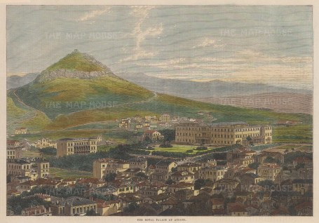 """Illustrated London News: Royal Palace, Athens. 1863. A hand coloured original antique wood engraving. 14"""" x 10"""". [GRCp862]"""