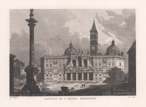 Exterior view of the Basilica with the Piazza dell'Esquilino in front.