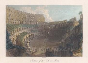 "Bartlett: Colosseum. c1840. A hand coloured original antique steel engraving. 6"" x 5"". [ITp2243]"