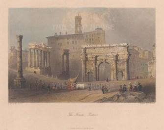 "Bartlett: Forum. c1840. A hand coloured original antique steel engraving. 6"" x 5"". [ITp2244]"