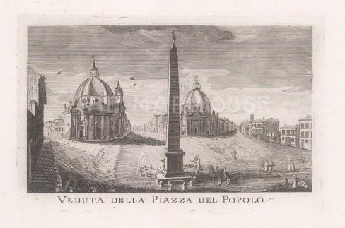 From the Flaminio obelisk to Chiesa di Santa Maria dei Miracoli and Basilica di Santa Maria in Montesanto.