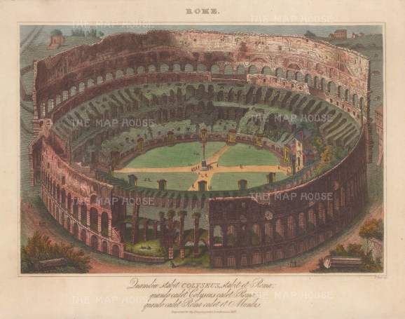 When the Colosseum falls, Rome falls and when Rome falls, the world falls. Engraved by John Pass.