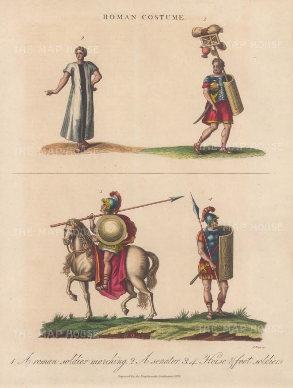 Roman Costume. Cavalry, Senator and Soldiers.