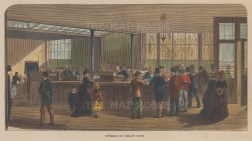 """Illustrated London News: Child's Bank. 1878. A hand coloured original antique wood engraving. 8"""" x 6"""". [LDNp10169]"""