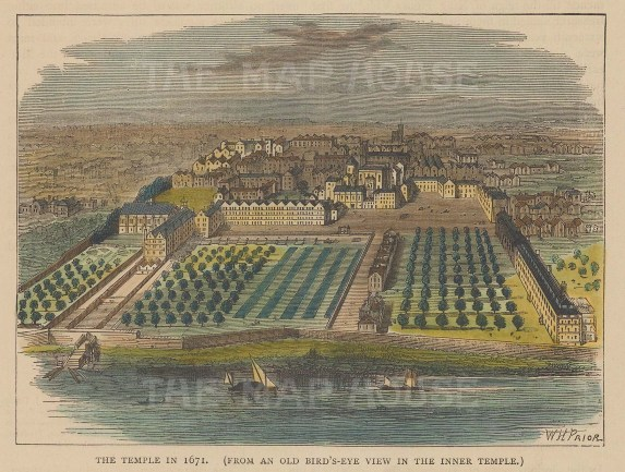 Aerial view of Inner Temple in 1671.