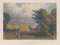 "Tallis: Hampton Court Palace. 1851. A hand coloured original antique steel engraving. 4"" x 3"". [LDNp10335]"