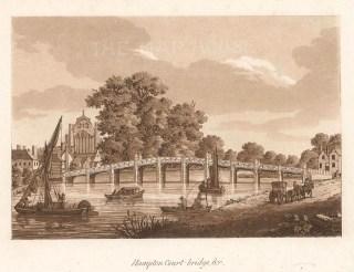 """Ireland: Hampton Court Palace. c1799. An original colour antique aquatint. 7"""" x 5"""". [LDNp10337]"""