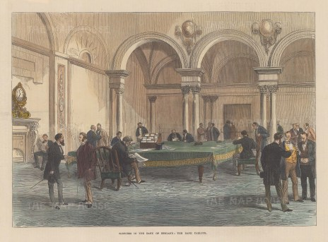 Bank Parlour with a number of gentlemen seated at a large table.
