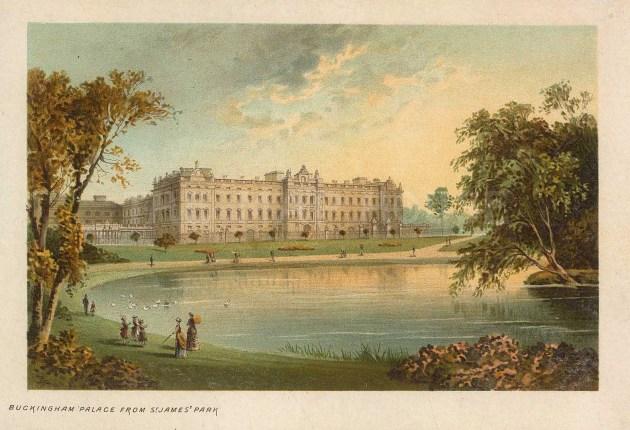 """Nelson: Buckingham Palace. 1889. An original antique chromolithograph. 5"""" x 4"""". [LDNp10459]"""