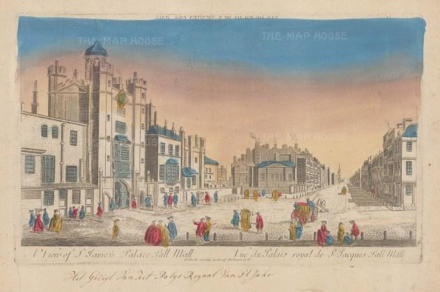 """Vue D'Optique: St James's Palace. c1750. An original hand coloured antique copper engraving. 16"""" x 10"""". [LDNp10524]"""
