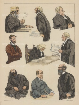 Nine portraits of characters in the courtrooms.