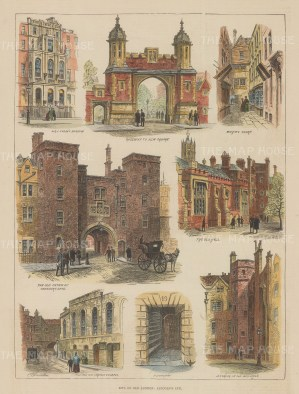 "Illustrated London News: Lincoln's Inn. 1887. A hand coloured original antique wood engraving. 10"" x 14"". [LDNp10595]"