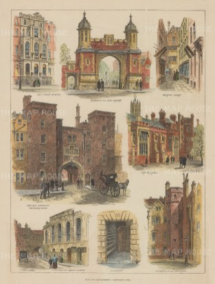 """Illustrated London News: Lincoln's Inn. 1887. A hand coloured original antique wood engraving. 10"""" x 14"""". [LDNp10595]"""