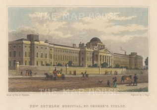 St Mary Bethlem Hospital (Bedlam). View of the psychiatric hospital in St George's Fields.
