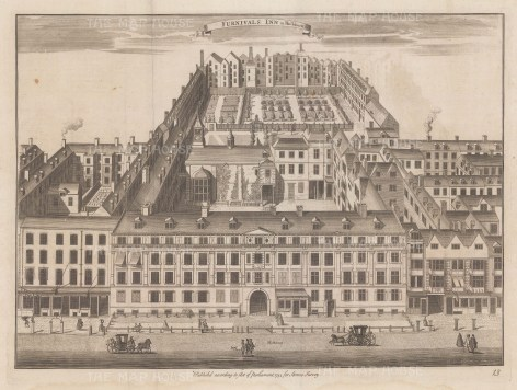 Aerial view of the Inn of Chancery on Holborn looking towards Clerkenwell. Now Holborn Bars.