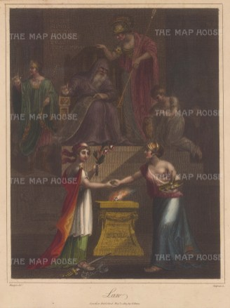 Allegory of Wisdom (Minerva), Experience (Aged man) Authority with Mace of Power, Obedience kneeling, Respect standing at a distance with Union of Justice, with her symbols, and Mercy, with olive of peace, poppy of oblivion, treading on the instruments of punishment.