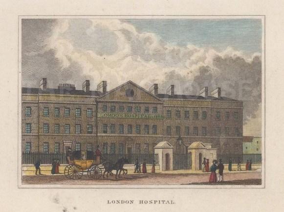 "Dugdale: London Hospital. 1829. A hand coloured original antique steel engraving. 4"" x 3"". [LDNp10760]"