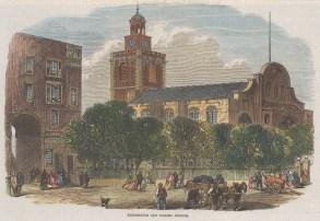 "Illustrated London News: Kensington Old Church. 1868. A hand coloured original antique wood engraving. 8"" x 5"". [LDNp10807]"